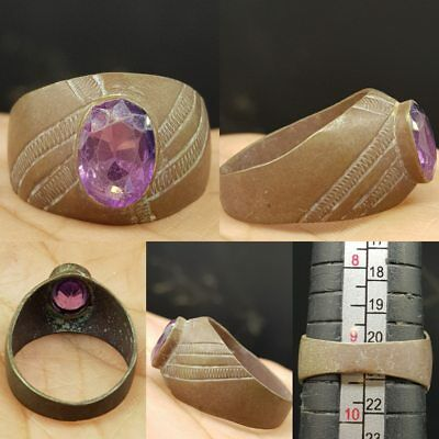 Late Medieval Antique Ring With natural Amethyest stone  # 6i