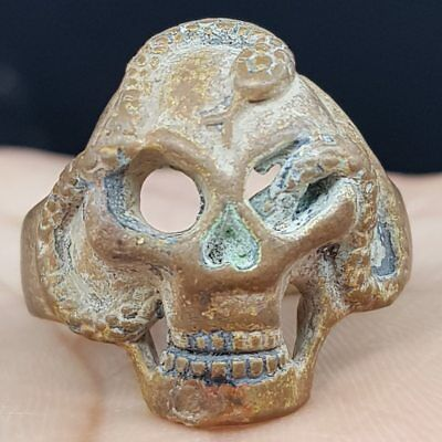 Ancient Wonderful Unique  Skull ring With Deadly Snake    # 6i