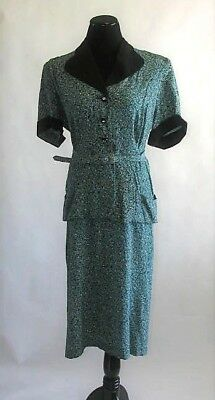 Vintage 1950's Shirtwaist Dress in a Teal Floral Print, Knee Length, XL