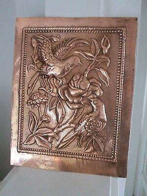 Vintage Hand Hammered Arts & Crafts Copper Picture Birds & Flowers