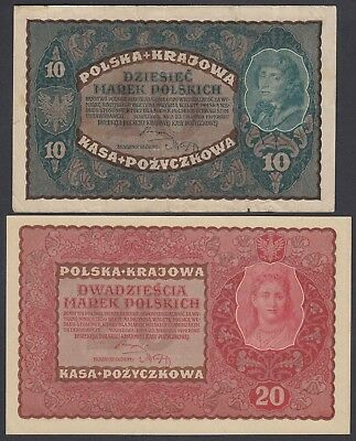 Polen Poland: 10 + 20  Marek Mark 23.8.1919 (P-25, 26)