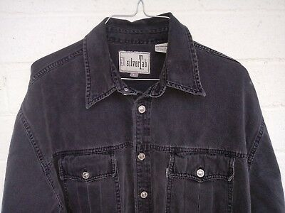 c83db8117f LEVIS SILVER TAB Black Denim Jean Shirt Jacket Mens Size Large ...