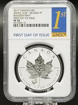 2017 Canada 1oz Silver Maple Leaf Rooster Privy PF70 First Day of Issue NGC
