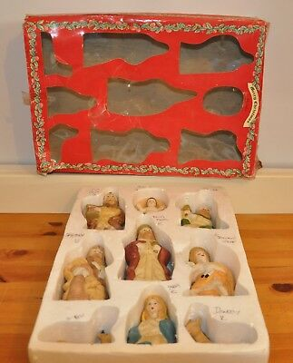 Vintage Little Meadow Nativity 9 Figurines Set Boxed Merry Christmas By Salco