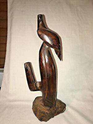 Vintage Hand Carved Cherry Wood Eagle Perched on Cactus Statue Figure