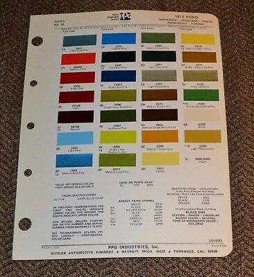 VTG 1972 Ditzler Auto Color Paint Chip Ford Mustang Pinto Maverick Torino 7209