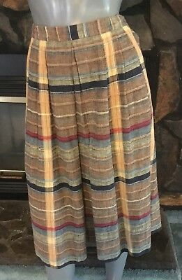 Vintage 70's Brown  Plaid Front Pleated Skirt by Nuons Size Medium