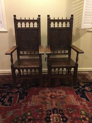 Antique French Gothic Throne chair, 19th century ( 2 x priced per chair)