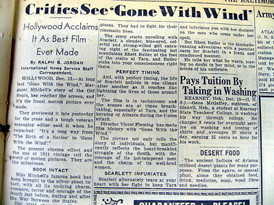 1939 newspaper w the 1st CRITIC REVIEW of movie GONE WITH THE WIND after Preview