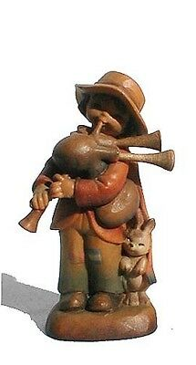 """Vintage Marked ANRI, Italy """"Jolly Piper"""" Wood Carved Figurine"""