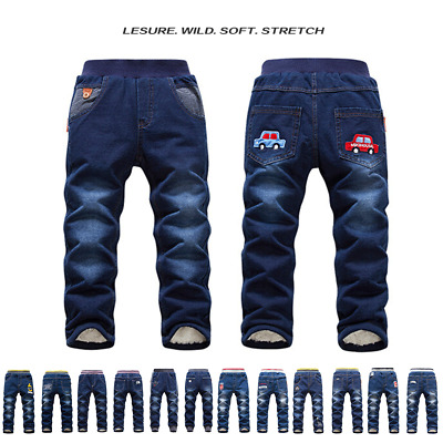 Baby Boys Girls Denim Jeans Kids Winter Pants Warm Fleece Thick Trousers Casual