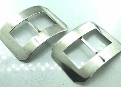 Stunning Pair Of Large Antique Sterling Silver Shoe Buckles Lawrence Emanuel