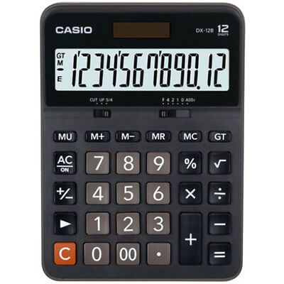 NEW Casio DX-12B Electronic Calculator 12-Digit EXTRA LARGE LCD Twin Power BLACK