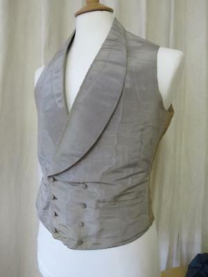 Antique Early Victorian Gents Silk Moire Waistcoat