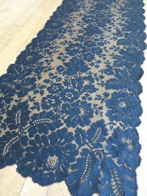 Antique Victorian Black Lace Mourning Shawl Stole- Pretty Flowers & Leaves