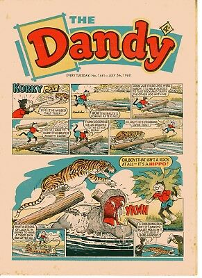 Dandy Comic # 1441 July 5th 1969 Korky The Cat Desperate Dan