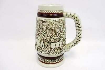 1983 Avon Western Round Up Cowboy Roping Cattle Drive Small Stein Made In Brazil