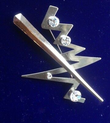 Vintage Jewellery Art Deco Style Huge Modernist Chrome and Diamante Brooch Pin