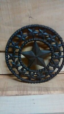 "Cast Iron 8 1/2"" STAR functional Trivet home decor Brown in color"