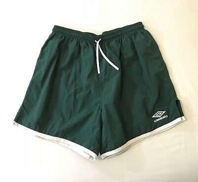 Vintage 90's Umbro Mens Shorts 2XL Soccer Futbol Nylon Green White Drawstring