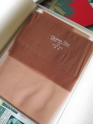 Boxed Vtg 1960's Pair Christian Dior Fully Fashioned Nylon Stockings- Size 8.5