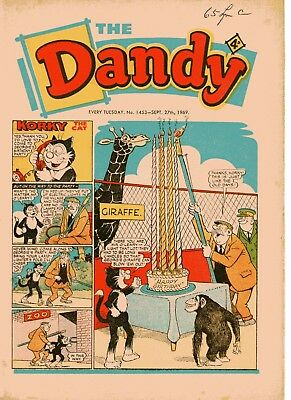 Dandy Comic # 1453 September 27th 1969 Korky The Cat Desperate Dan