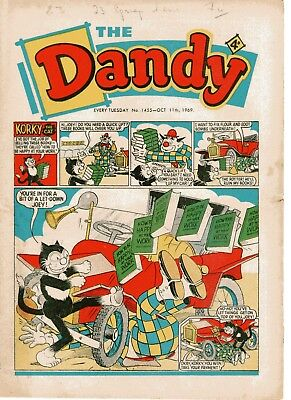 Dandy Comic # 1455 October 11th 1969 Korky The Cat Desperate Dan