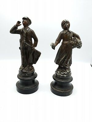 French Antique couple Figurines Paperboy and Flower Girl Spelter