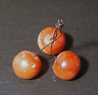 Early Vintage Italian Alabaster Stone Fruit Group Of 3 Red Pink Cherries**wow!!