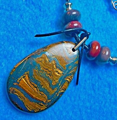 #515 RARE TIGER IRON GEM PENDENT+ WOVEN LEATHER 4mm WIDE NECKLACE+ NATIVE MADE