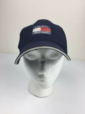 c0ad40eebe4 VTG 90s Tommy Hilfiger Strapback Hat Cap Blue Big Flag Logo Blue Red White