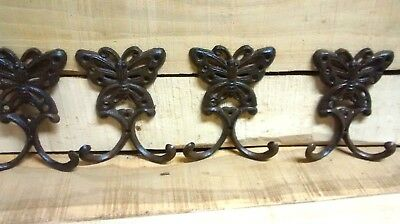 4 Cast Iron BUTTERFLY  Towel Hooks Hat, Coat Hook PLANT GARDEN