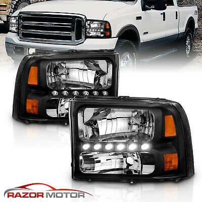 1999-2004  Black Headlight for Ford F250/F350 Superduty Excursion [LED DRL]