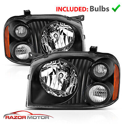 2001-2004 Replacement Black Headlight Pair for Nissan Frontier With Hi/Lo Bulb