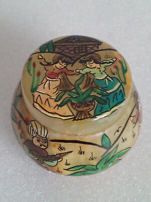 Vintage Small Middle Eastern Hand Decorated Onyx Pot / Box