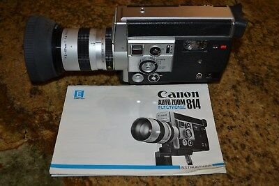 Canon 814 Electronic Super8 movie camera with instructions