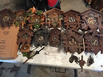 Large Lot Made in Germany Cuckoo Clocks Work Parts Restore