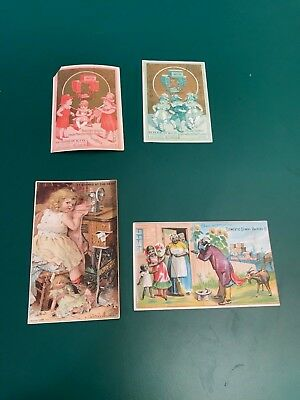 Lot of 4 Antique Leader & Domestic Sewing Victorian Trade Cards Black Americana