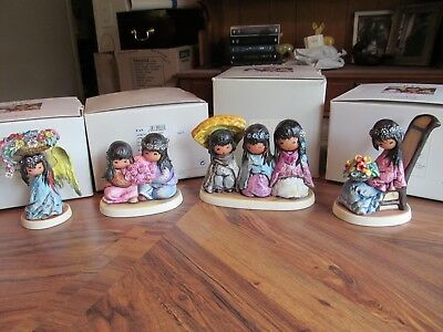 Lot of Four DeGrazia Figurines with Boxes by Goebel - Wee Three, Littlest Angel