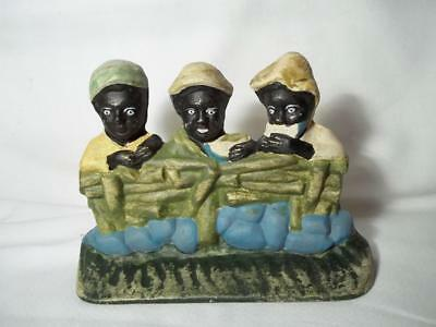 Cast Iron Hubley Doorstop 3 Boys Eating Watermelon Black Americana Collectible