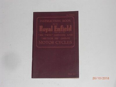 Royal Enfield instruction book  for 500 twin 1953-1958 and Meteor 700 1953-1955