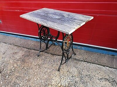 Vintage Singer Sewing Machine Table, Treadle Cast Iron, Up cycle, Retro, Patina