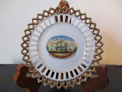 Circa 1915 Souvenir Porcelain Ribbon Dish The Alamo San Antonio Texas *