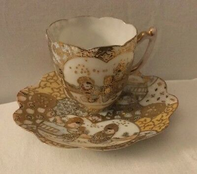 Pretty Satsuma Demitasse Cup & Saucer- Hand Painted Gold & Moriage - Japan Signd