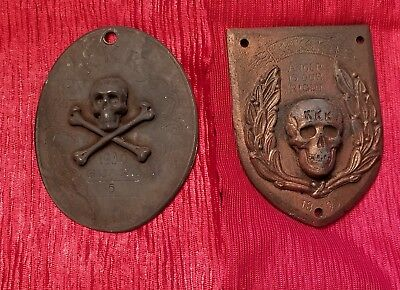 1863-09 A.K.I.A. Non Silba Sed Anthar Cross Symwao Lot of 2 Cast Iron Plaques