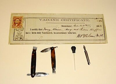 Original Civil War Era Smallpox Vaccine Certificate + Doctors Smallpox Instrumen