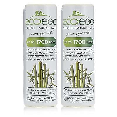 2 x Ecoegg Re-Usable Bamboo Towels Roll White Kitchen Cleaning Wiping Dusting