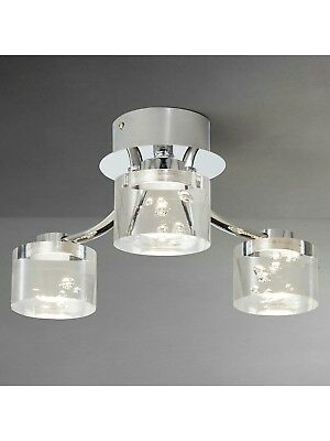 John Lewis & Partners Lawrence LED Bubble Flush Ceiling Light, 3 Light, Clear/Si