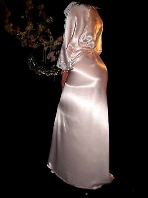 Vtg Satin Pink Lacy Flutter Frilly Shiny Dressing Nightgown Robe Intimates 14/16