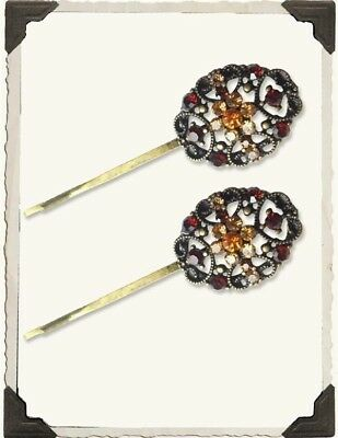 Victorian Trading Co Filigree Bobby Pins with Crystals Autumn Colors - Set of 2